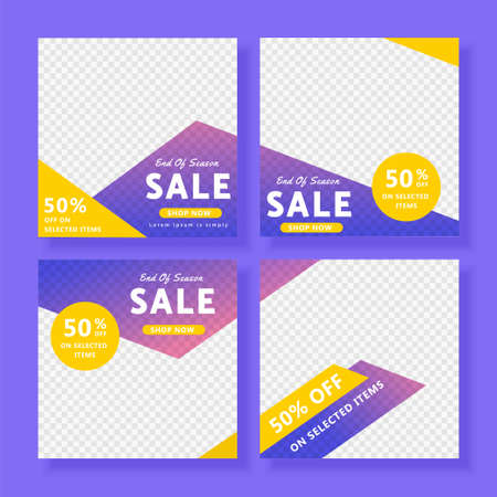 End of season sale ad design illustration, colorful editable template for social network post and message Stock Illustratie