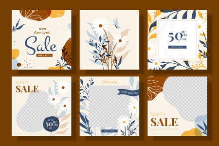 New arrival fashion sale social media ad post, set of editable square illustrations for web and mobile promotions Stock Illustratie