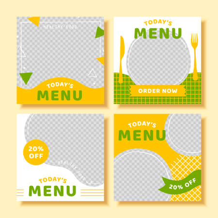 Food social media banner post template set with offers, editable minimal restaurant square banner template in 3d illustration