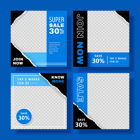Fitness class editable social media posts banner template in black and blue, set of editable square illustrations, suitable for gym social media post and web ad Stock Illustratie