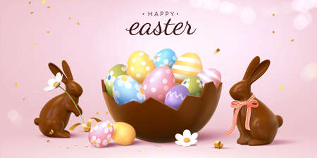 3d Easter banner with beautiful painted eggs in broken chocolate eggshell. Concept of Easter egg hunt or surprise gifts.