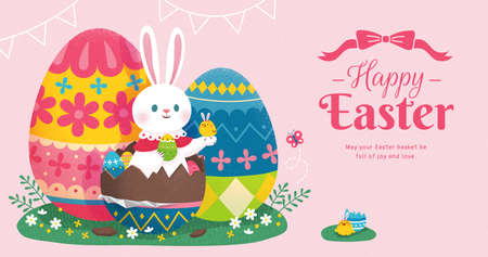 Happy Easter banner with cute rabbit sitting in beautiful chocolate eggs on green grass. Concept of egg hunt. Stock Illustratie