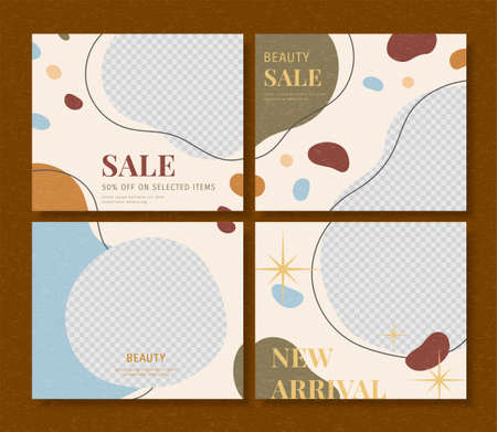 Colorful square social media post with abstract designs, set of editable square illustrations for web and mobile promotions Stock Illustratie