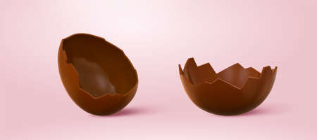 3d cracked chocolate eggshells. Food element set isolated on pink background. Suitable for Easter egg decoration or dessert recipe.