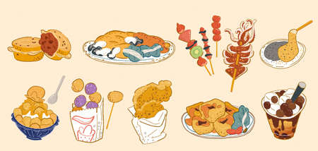Taiwan street food doodle set, including wheel cake, oyster omelet, tanghulu, grilled squid, mochi, mango shaved ice, fried sweet potato balls, fried chicken fillet, stinky tofu, bubble milk tea