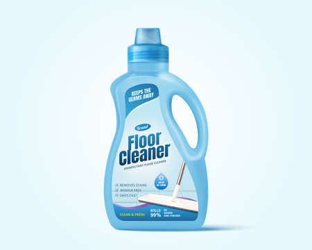 Realistic bottle package mock up for floor cleaner branding, isolated illustration on blue background, suitable for advertising poster.