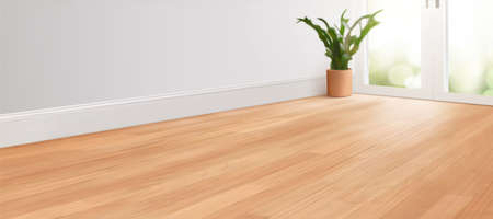 3d blurry living room background for ad layouts. White empty room interior with wooden floor.