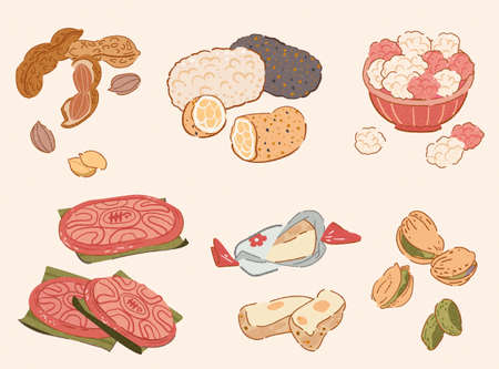 Taiwan CNY traditional snack collection in doodle style. Food elements including boiled peanuts, sesame rice crispy, sugar coated peanuts, red sticky rice cake, nougats, and pistachios.