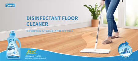 3d illustration of a realistic woman cleaning floor using disinfectant cleaner and mop. Advertisement poster layout of floor cleaner. Stock Illustratie