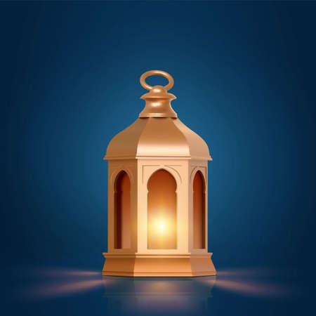 3d illustration of fanoos, fanous, or Arabic Ramadan lantern in golden metal texture design. Religious object isolated on dark blue background. Stock Illustratie