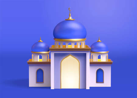 3d realistic mosque building design isolated on blue background. Architecture element for Islamic events and Ramadan holidays.