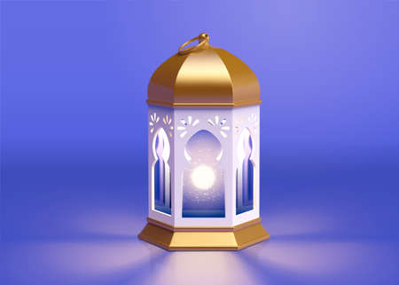 3d illustration of metal fanoos, fanous or Ramadan lantern. Religion element for Islamic holidays. Stock Illustratie