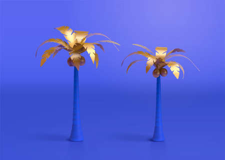Collection of 3d oasis palm trees designed with gold foliage. Natural elements suitable for desert tourism and summer beach vacation.