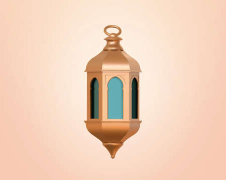 3D illustration of fanous, fanoos or Arabic Ramadan lantern. Islam religious object element isolated on apricot pink background. Stock Illustratie