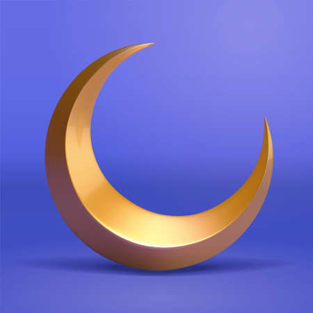 3d illustration of golden crescent moon. Element isolated on blue background, suitable for Islam religion, magic or night time.
