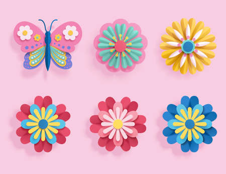 Set of colorful origami flower and butterfly. Botanic element designed in paper folding style, isolated on pink background.