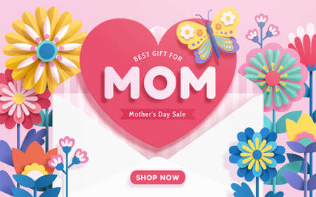 Mother's Day sale template designed in paper cut style on pink background. An opened envelope surrounded by colorful origami flowers sends love as the best gift for mothers. Stock Illustratie