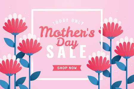 Mother's day sales background. Layout design of carnation flower in paper art style. Web template for online promotion event.