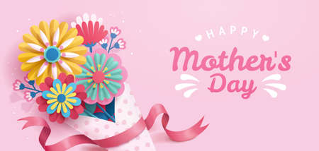 Happy Mother's Day banner, designed in paper folding style on pink background. The bouquet wrapped with dotted paper. Stock Illustratie