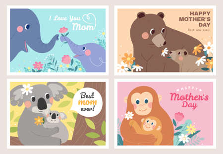 Lovely animals celebrate mother's day. Children of the elephant, bear, koala, and monkey deliver flowers to their mothers. Illustration designed in flat.