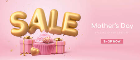 3d web banner template for Mother's Day or Valentine's Day. Minimal pink layout with sale word balloons, cup cake and gift boxes.