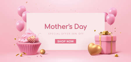 3d banner template designed with cup cake, balloons and gift box. Minimal pink background suitable for Mother's Day and Valentine's Day.