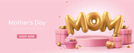3d minimal pink banner background, suitable for Mother's Day. Mom balloon words float on podium with gift boxes decorated aside. Stock Illustratie