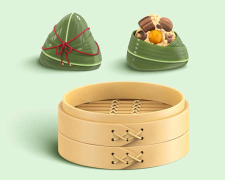3D isolated elements of Duanwu Festival. Including wrapped, unwrapped rice dumpling and a bamboo steamer