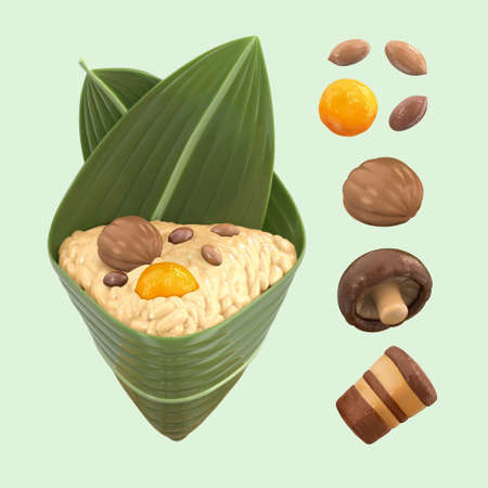 3D isolated elements of Zongzi stuffing for Duanwu Festival. Ingredients include peanuts, salted egg yolk, chestnut, shiitake, pork belly, and a unwrapped rice dumpling Stock Illustratie
