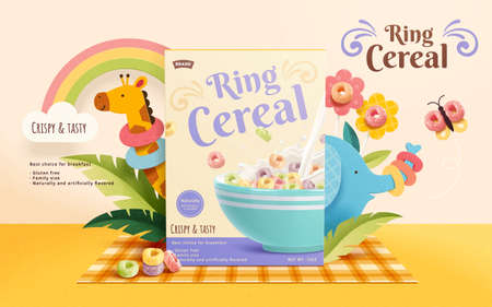 3d crunchy ring cereal ad template. Product package mock up sets on a picnic mat, decorated with butterfly, flowers and cute zoo animals. Vecteurs