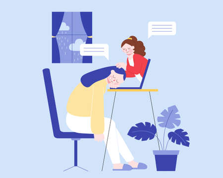 Flat illustration of psychiatrist providing advice to a depressed woman and helping her overcome anxiety via laptop. Concept of online mental health consultation. Векторная Иллюстрация