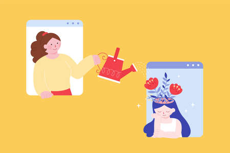 Woman watering flowering plant in woman's head, flat style illustration. Woman comforting sad woman with the help of mobile phone. Concept of mental health support via technology. Ilustración de vector