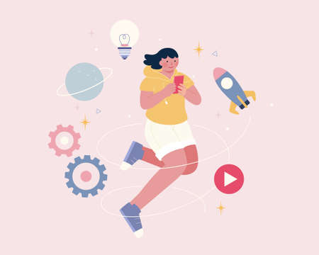 Girl floating in air using mobile phone with mobile app icons around her. Flat illustration.