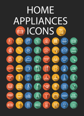 Set of Home Appliances flat Icons