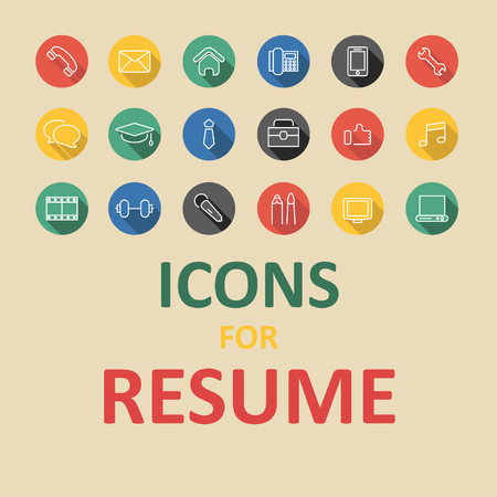 Icônes plats à la mode pour votre CV, CV, emploi Banque d'images - 50002272