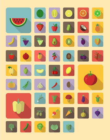 Set of fruit and vegetable icons in flat style with trendy long shadow