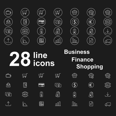 Set of thin line business, finance, shopping icons