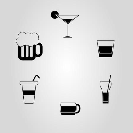 lager beer: Set of drink icons Illustration