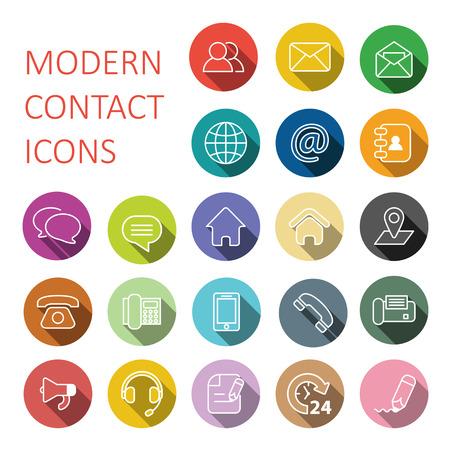 Définir des icônes de contact et de communication modernes plat Banque d'images - 50002275