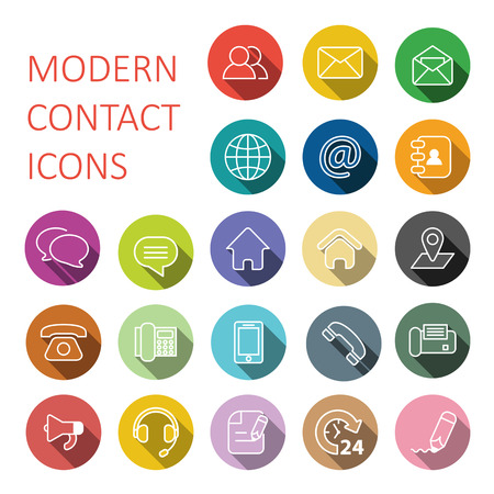 Set of modern flat contact and communication icons