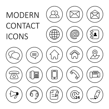 Set of modern line contact and communication icons Illustration