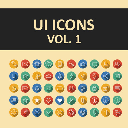 mobile apps: User Interface flat icons set. trendy icons for websites and mobile apps