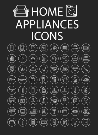 Set of Home Appliances line Icons Illustration