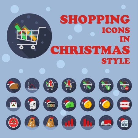 Christmas theme shopping, business, finance icons in flat style with long shadow Illustration