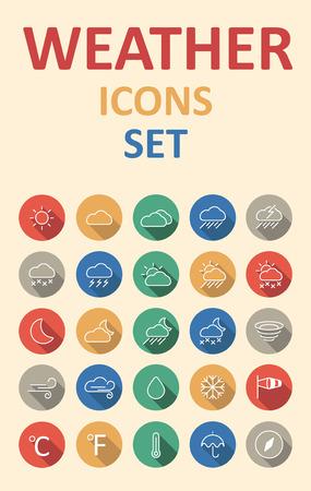 Ensemble d'icônes météo prévues dans le style de matériau plat avec ombre Banque d'images - 50002287