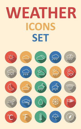 set of weather icons set in flat material style with long shadow