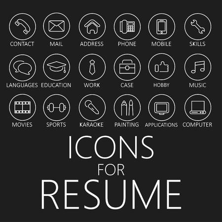 cv: Conjunto de iconos de líneas para su curriculum vitae, CV, trabajo Vectores