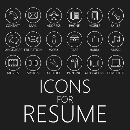 Set of line icons for your resume, CV, job Çizim
