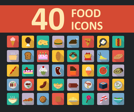 set of food icons in flat style with long shadow