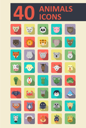 leon caricatura: Conjunto de animales iconos planos con moda larga sombra